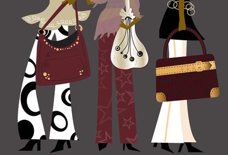 busy person: Chicas de moda - trabajan mujeres en ropa de moda con bolsos