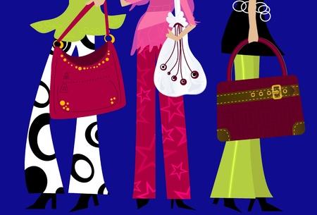 패션 걸스 - 지갑으로 유행의 옷을 입은 여성들 일러스트