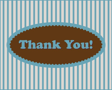 Thank You - Thank You text in oval frame on stripped background  Vector