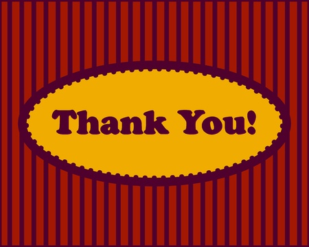 stripped: Thank You - Thank You text in oval frame on stripped background Illustration