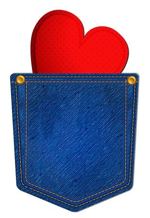 하트와 블루 진 포켓
