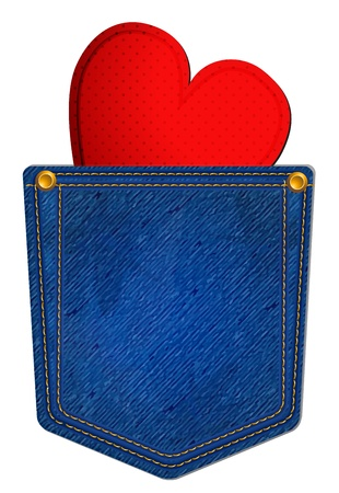 Blue Jean Pocket with Heart Vector