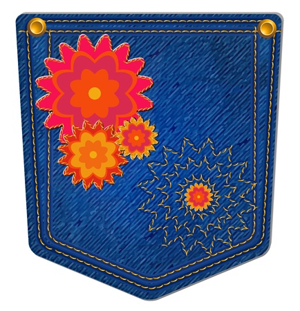 Blue Jean Pocket - Jean Pocket decorated with bright flowers and gold stitching Vector