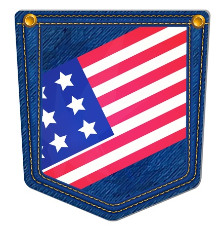 USA Flag Blue Jean Pocket - Jean Pocket decorated with the USA flag and gold stitching Stock Vector - 13287112