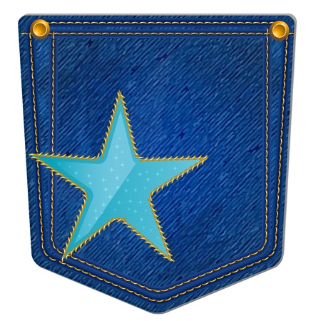 Blue Jean Pocket - Jean Pocket decorated with a star and gold stitching  イラスト・ベクター素材
