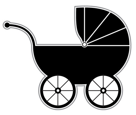 Baby Carriage - Isolated Black and white baby carriage silhouette Vector