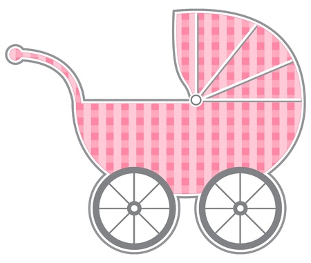 Baby Carriage - Isolated baby carriage silhouette with cute pattern   Vector