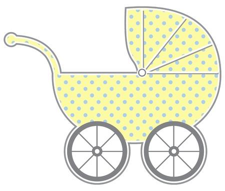 nursing mother: Carro de beb� - silueta aislada cochecito de beb� con el patr�n lindo Vectores
