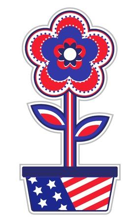 USA Flower Pot Vector