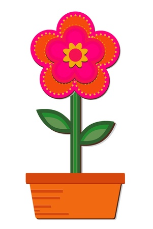 Flower in a Pot - Single bold patterned flower in a pot Vector