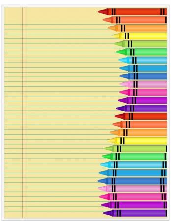 Lápices de colores sobre papel - Conjunto de lápices de colores se muestra en papel rayado amarillo Foto de archivo - 14749078
