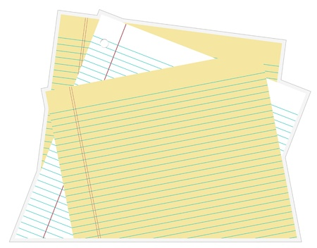 Paper Stacked white and yellow lined paper Vector
