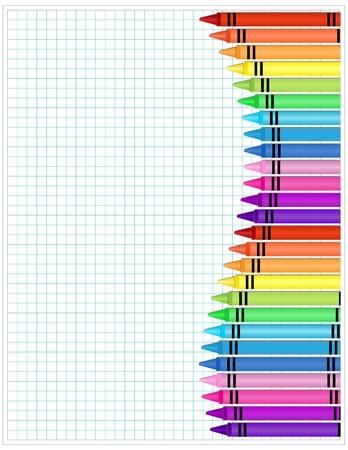 hoja cuadriculada: L�pices de colores sobre papel - Conjunto de l�pices de colores se muestra en papel cuadriculado Vectores