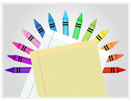 Crayons behind white and yellow lined paper Vector