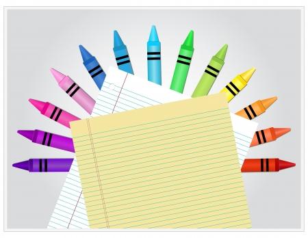 Lápices de colores detrás de papel rayado blanco y amarillo Foto de archivo - 14932746