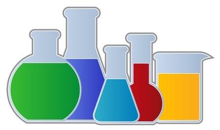 ipotesi: Palloni e Beaker-chimica del materiale tra cui palloni e coppa isolato Vettoriali