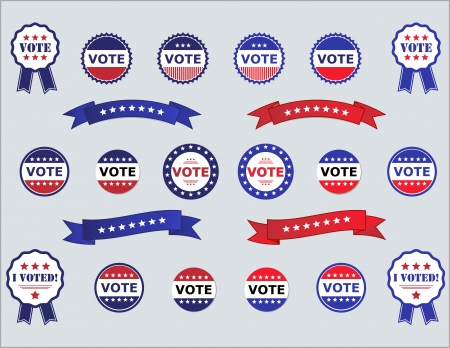 Voting Badges and Stickers for Elections Illustration