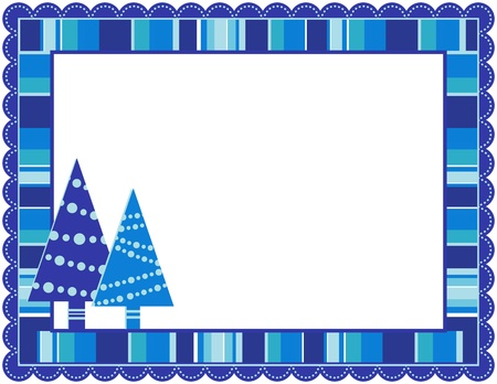 scalloped: Christmas Stripped Frame Illustration