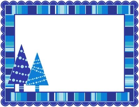 folkart: Christmas Stripped Frame Illustration