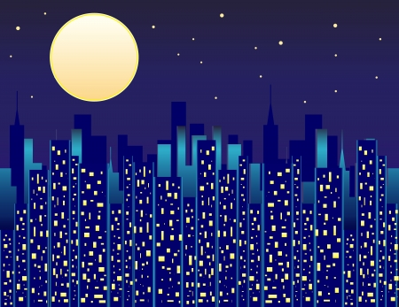 City at Night with Large Moon Vector