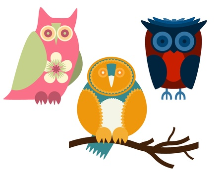 owl illustration: Owls - Set of three owls in different colors Illustration