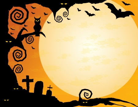 Halloween Background -Gnarled tree with owl, spooky eyes, flying bats and a huge moon – plenty of copy space