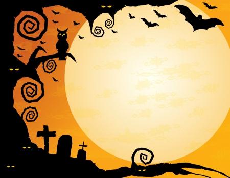 boom halloween: Halloween Achtergrond-Knoestige boom met uil, griezelige ogen, vliegende vleermuizen en een enorme maan veel kopie ruimte Stock Illustratie