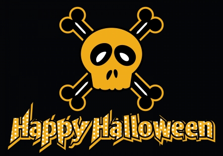 Happy Halloween skull and crossbones Vector