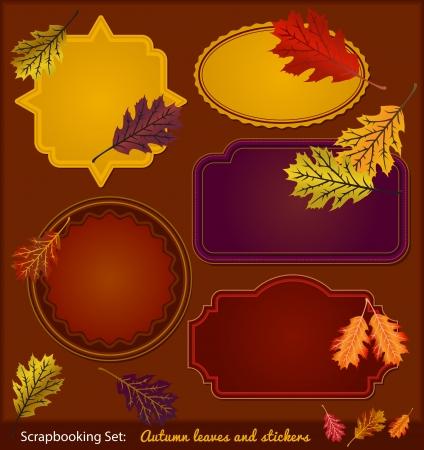 Autumn Scrapbook stickers Çizim