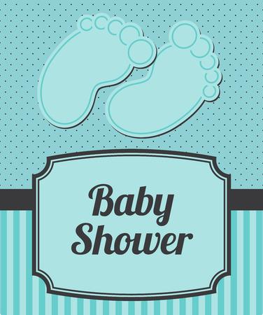fondo para bebe: Baby shower anuncio con los pies del beb� y rayas, con copyspace Vectores