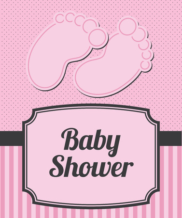 Baby shower announcement with baby feet and stripes, with copyspace