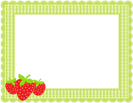 Strawberry Gingham Frame Illustration