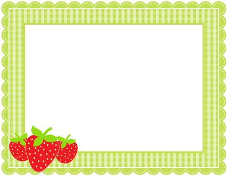 Strawberry Gingham Frame Ilustrace