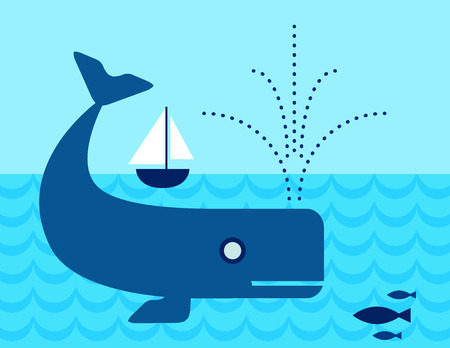 Whale in the ocean swimming under a Sailboat Vector