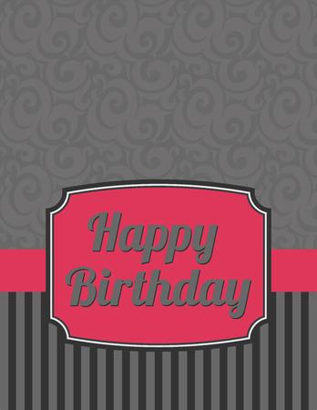 Elegant Striped Happy Birthday Notecard Illustration