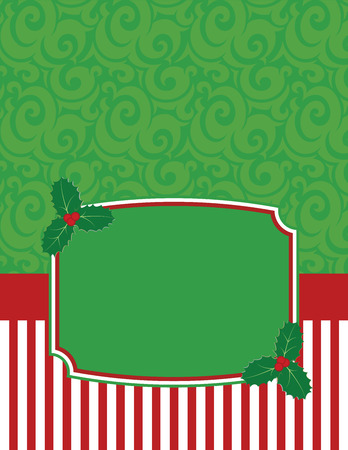 Elegant Striped Christmas Notecard with copy space Vector