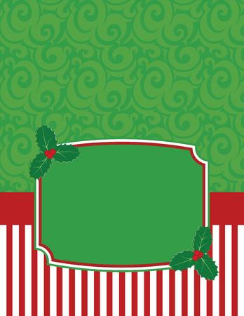 navidad elegante: Elegante Notecard Navidad a rayas con copia espacio Vectores