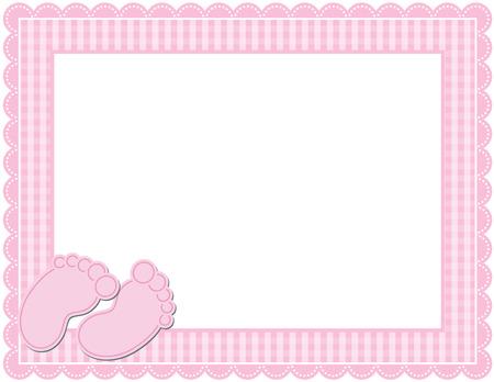 赤ちゃんの女の子のギンガム フレーム  イラスト・ベクター素材