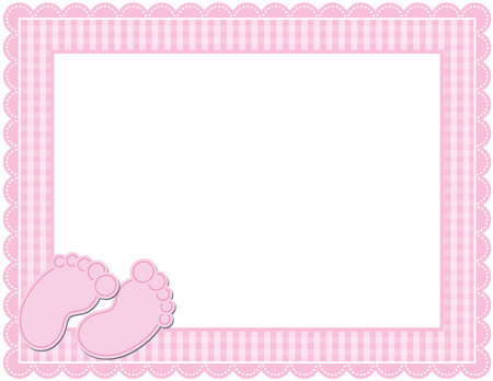 gingham: Baby Girl Gingham Frame Illustration