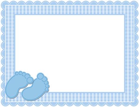 scrapbook frames: Baby Boy Gingham Frame Illustration