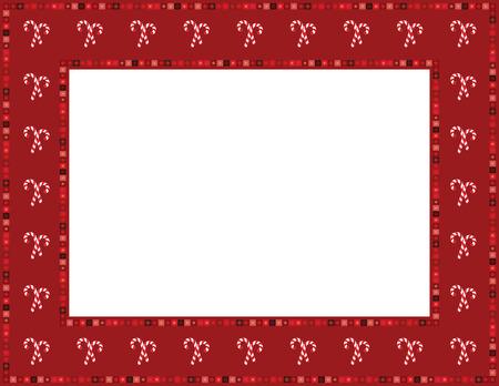 folkart: Christmas Candy Cane Frame Illustration