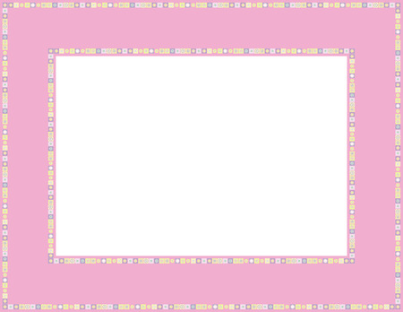 folkart: Beaded patterned frame with mosaic border which can be used for baby showers, Easter, Thanksgiving, Christmas invites, Valentines invite or other occasions Illustration