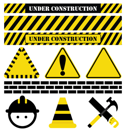 under construction sign with man: Under Construction signs and symbols