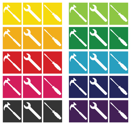 Set of Construction or Home Repair tools shown in silhouette against a spectrum of color block backgrounds