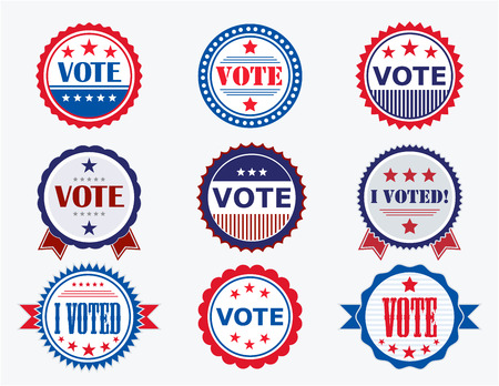 politics: Election Voting Stickers and Badges in USA red, white and blue