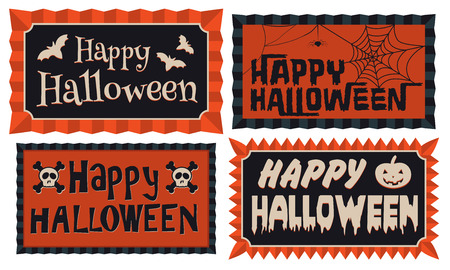 Happy Halloween - Set of four Happy Halloween typographic banners in orange and black framed with a rosette border
