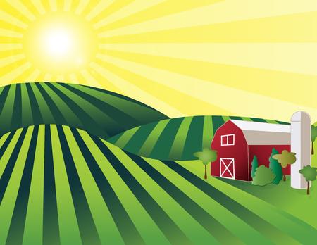 rolling landscape: Farm Land – rolling green farmland with red barn, silo and shining sun