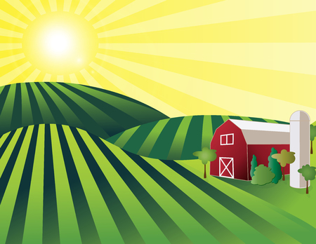 Farm Land – rolling green farmland with red barn, silo and shining sun