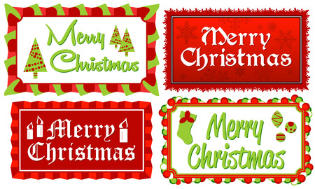 Merry Christmas - Set of four Merry Christmas typographic banners in red and green framed with stylized borders