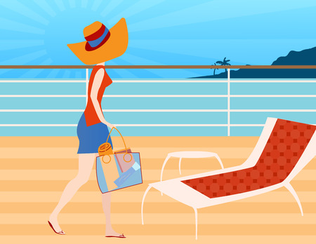 Woman walking on a cruise ship deck ready to sit and relax in a deck chair to read 일러스트